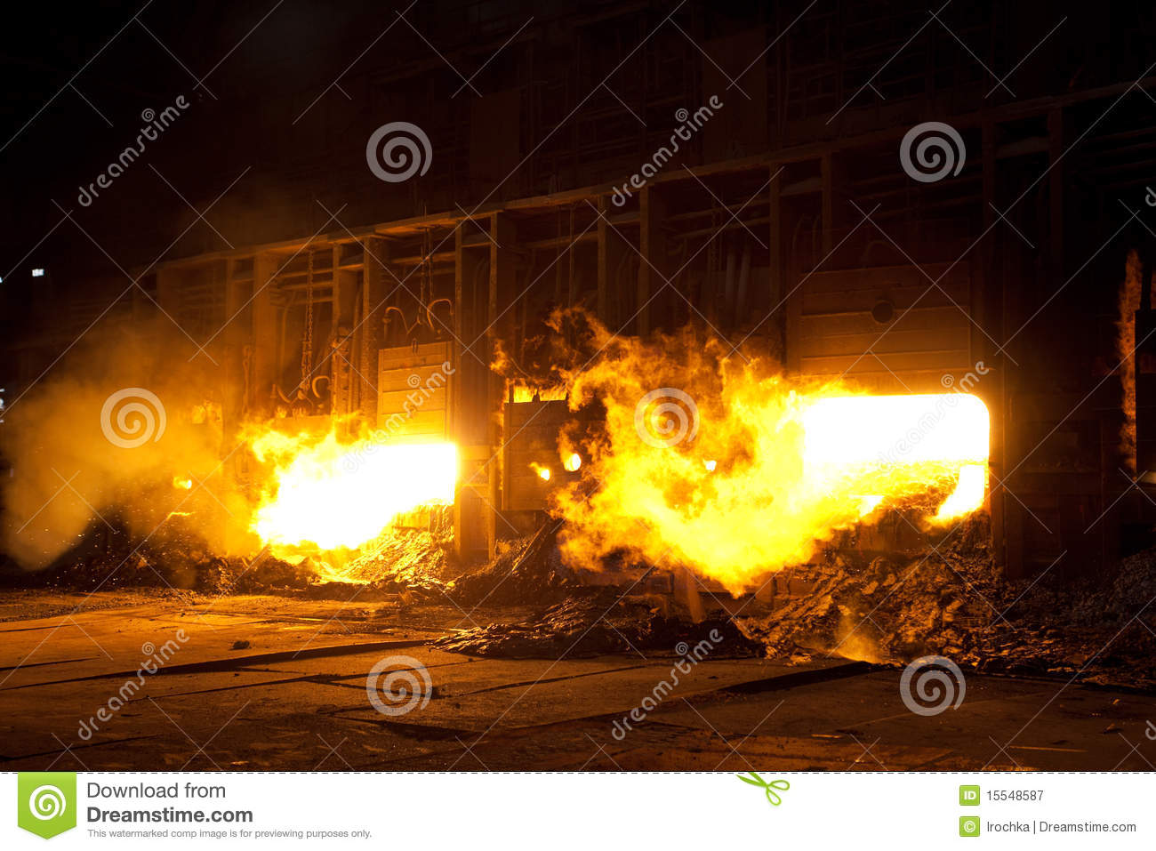 Molten Steel In Blast Furnace Royalty Free Stock