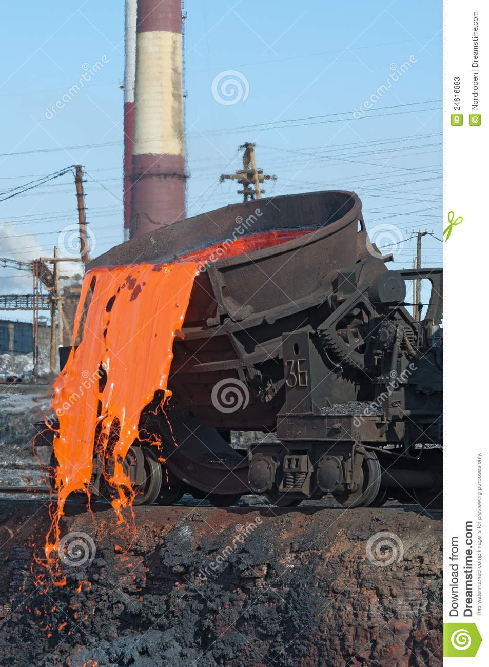Slag Sawdust Melted : The molten steel is poured into dump stock image