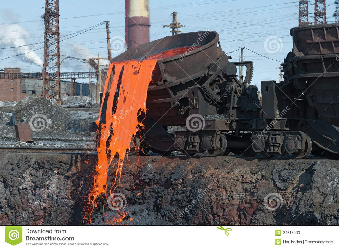 Slag Sawdust Melted : The molten steel is poured into dump stock photos
