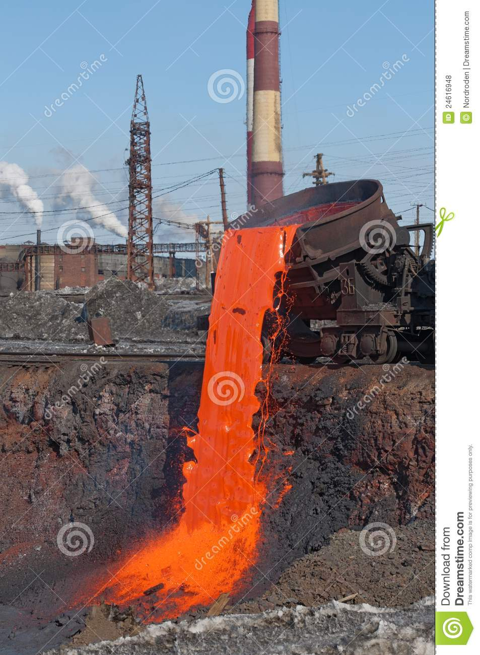 Slag Sawdust Melted : The molten steel is poured into dump stock photo