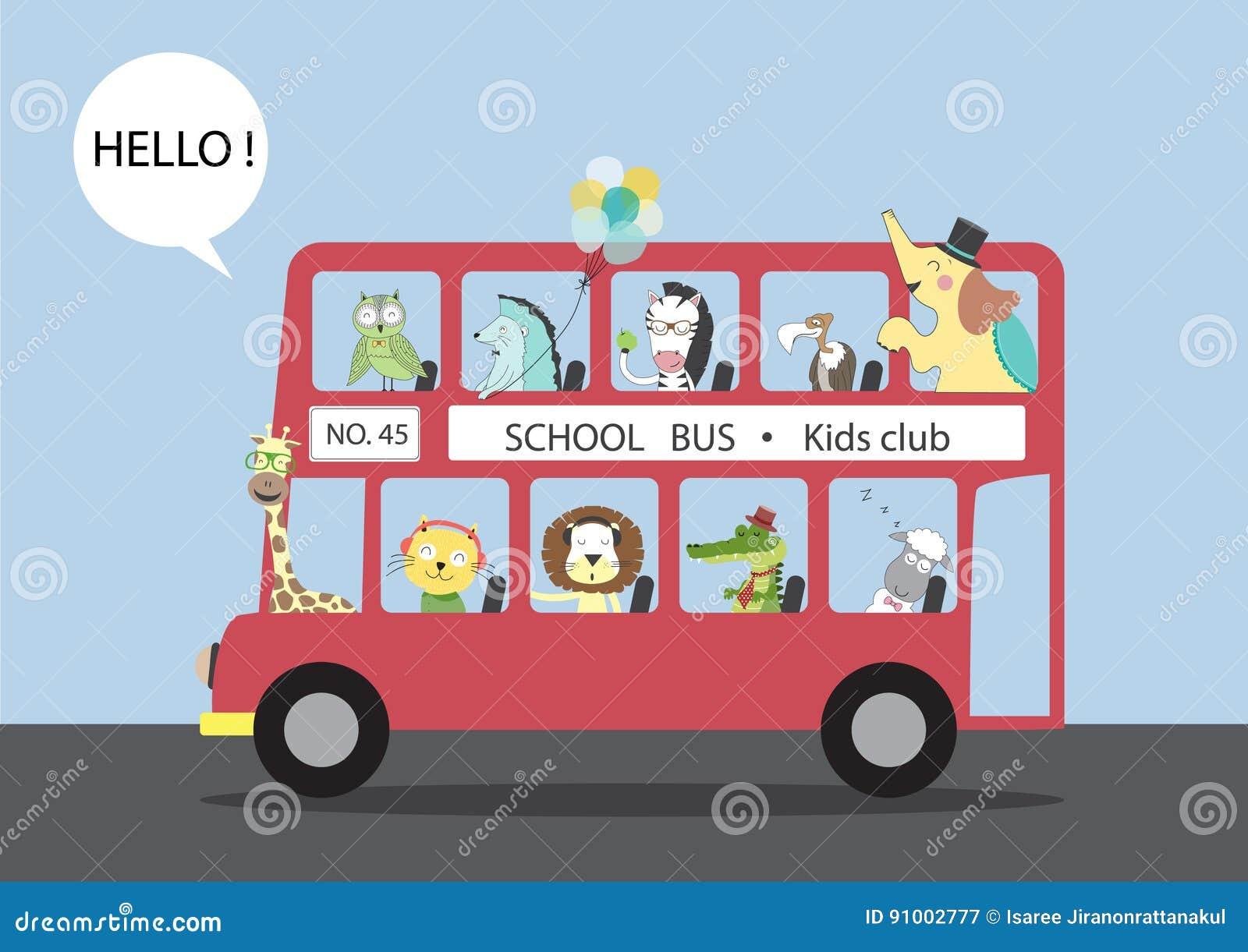 Molti animali che guidano su un bus, illustrazioni di vettore