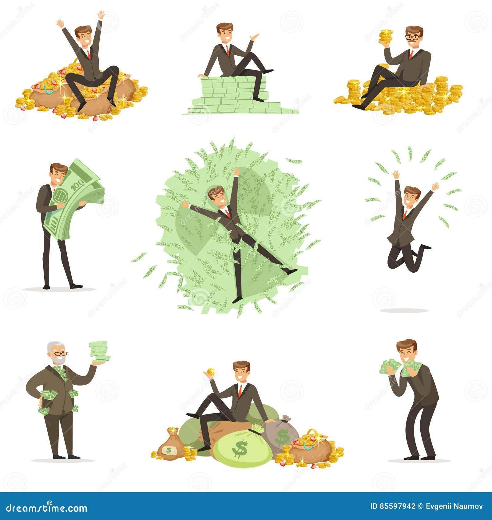 Molto fondi Rich Man Bathing In His, serie felice del carattere maschio del magnate del milionario di illustrazioni