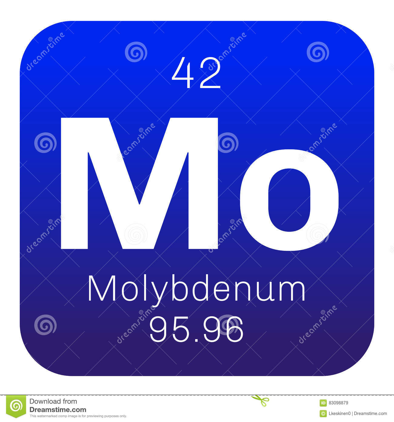 Molybdenum Chemical Element Stock Vector Illustration Of Substance