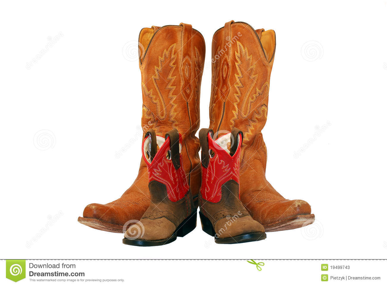 00c7b08e Small pair of infant western cowgirl boots next to adult cowgirl boots