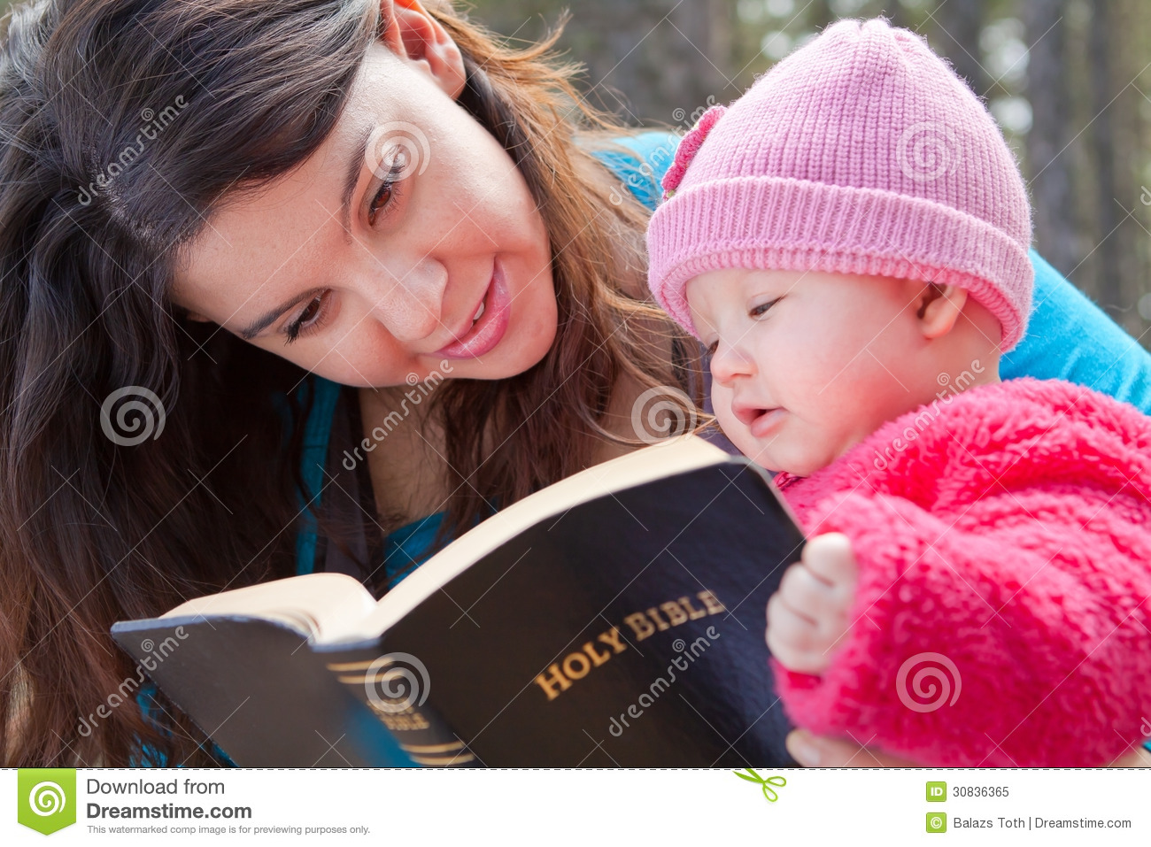 Mom And Baby Daughter Reading Bible Stock Image Image Of
