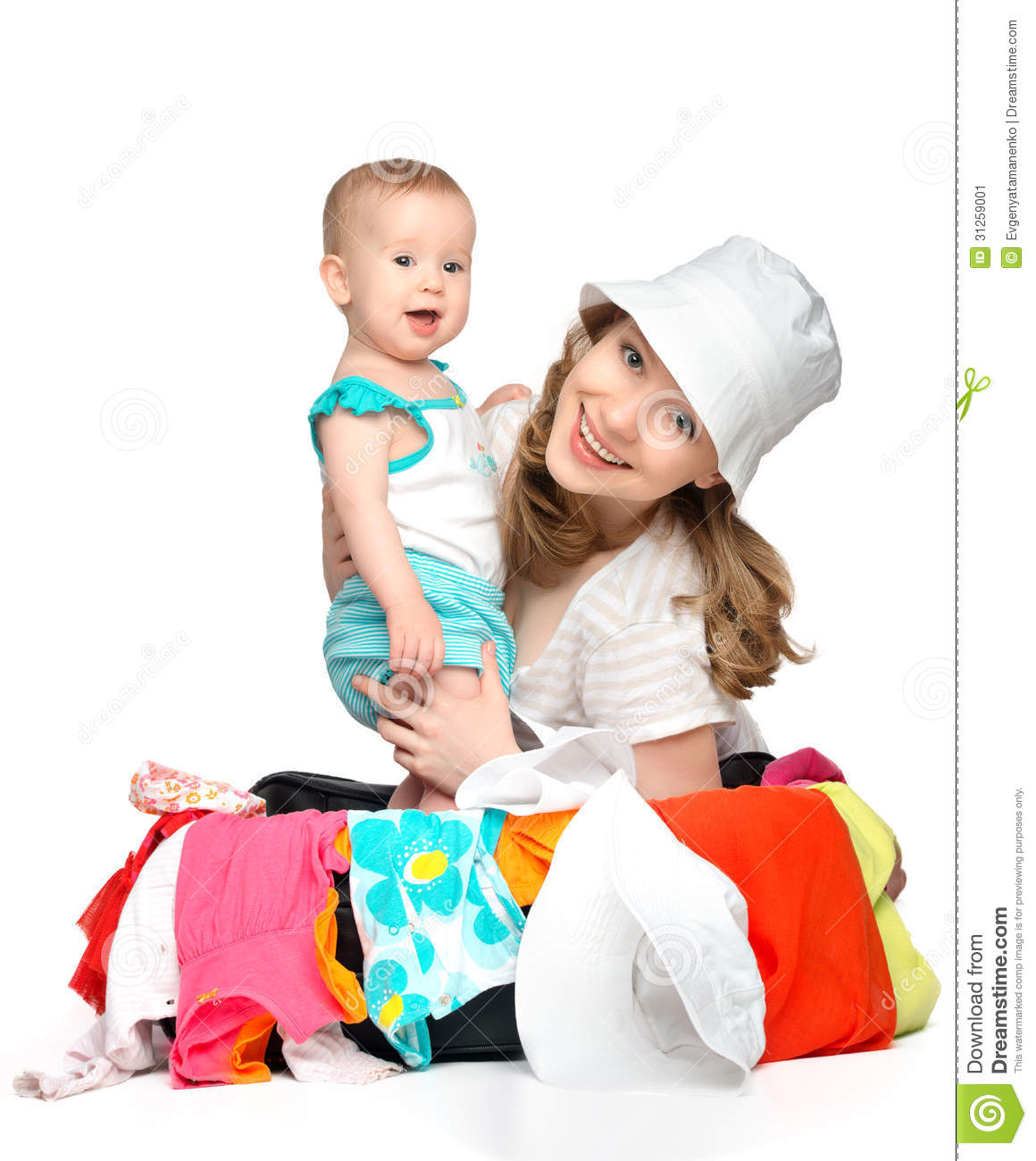 Mom And Baby Girl With Suitcase And Clothes Ready For ...