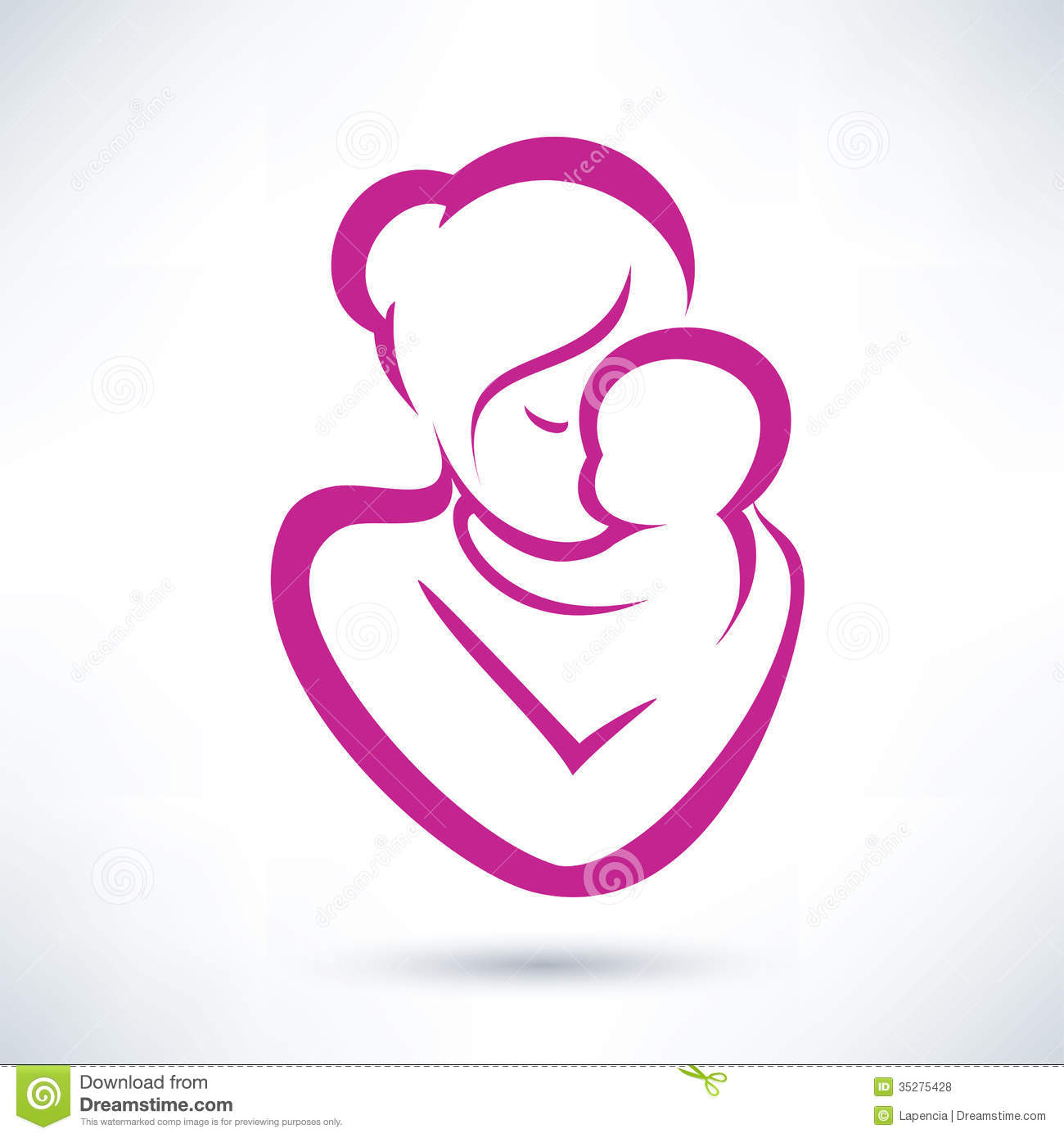 Mom And Baby Icon Stock Vector Illustration Of Heart 35275428