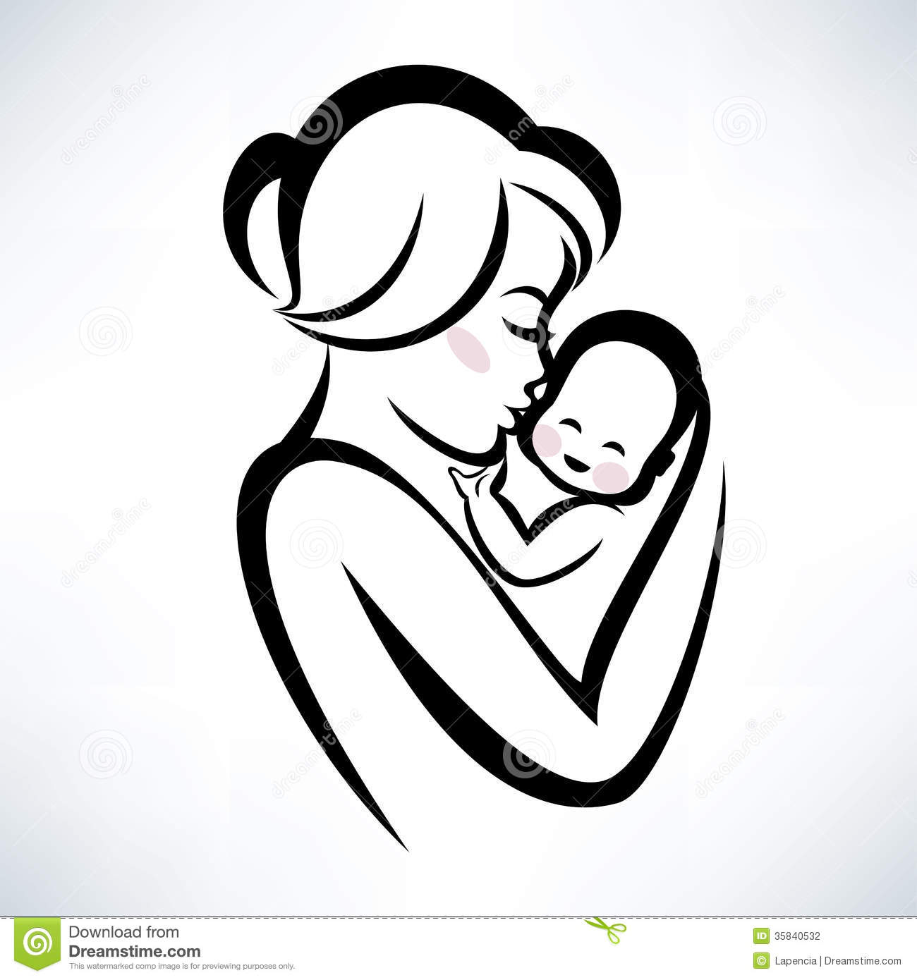 Mom And Baby Symbol Stock Vector Illustration Of Portrait 35453981
