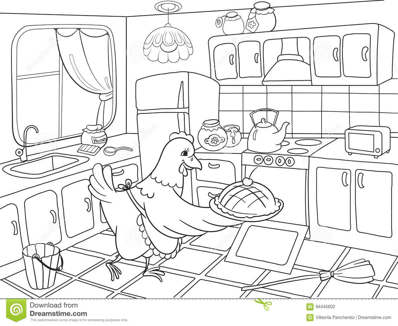 Mom Chicken In The Kitchen Prepares Food For The Family Coloring ...