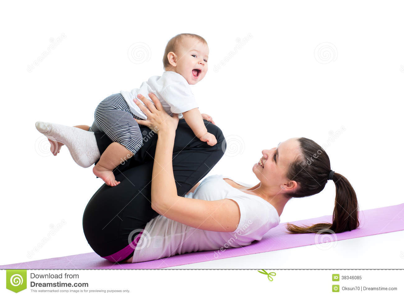 Mom With Child Do Gymnastic And Fitness Exercises Royalty