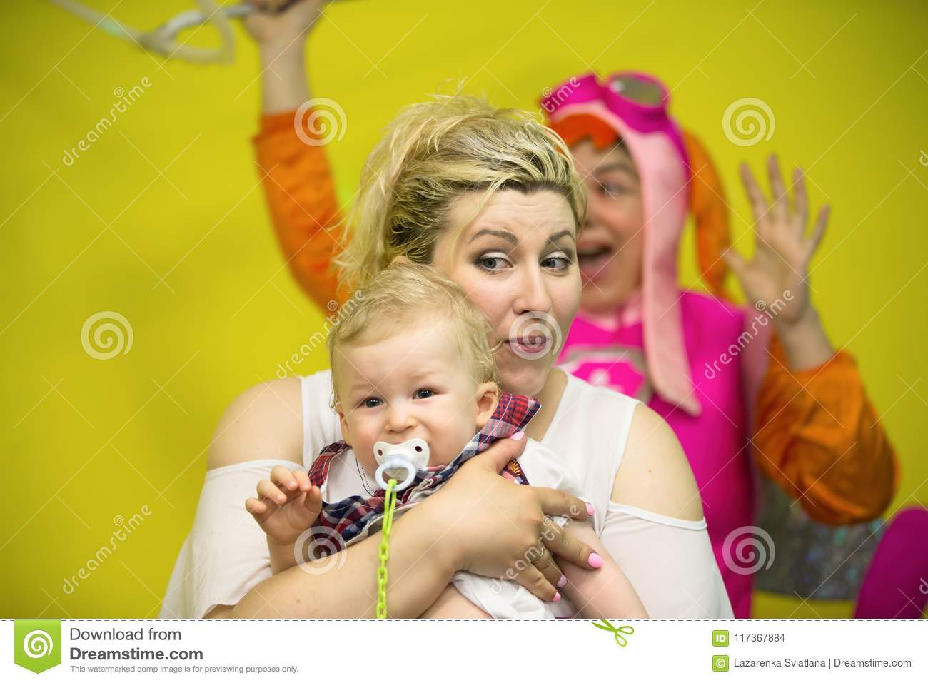 Mom with a child having fun
