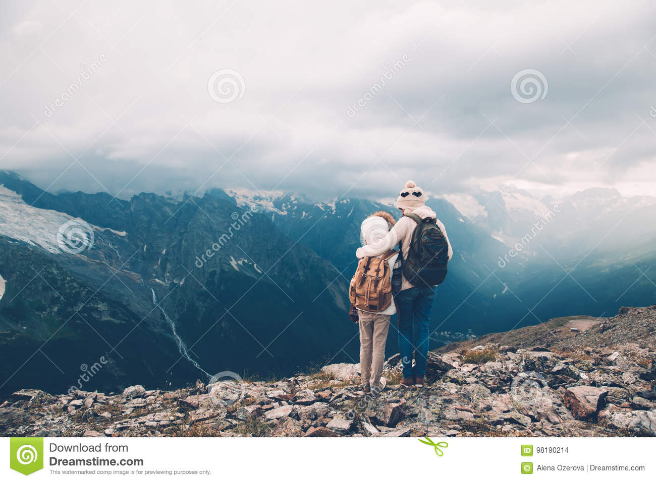 108bc09c3e Mom With Child In Mountains Stock Photo - Image of outdoor