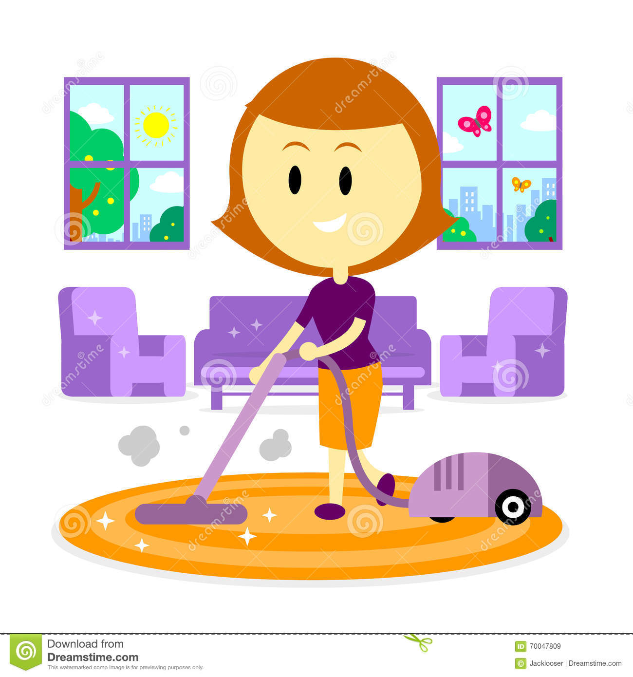 Mom Cleaning House For Spring Stock Vector Illustration Of Floor