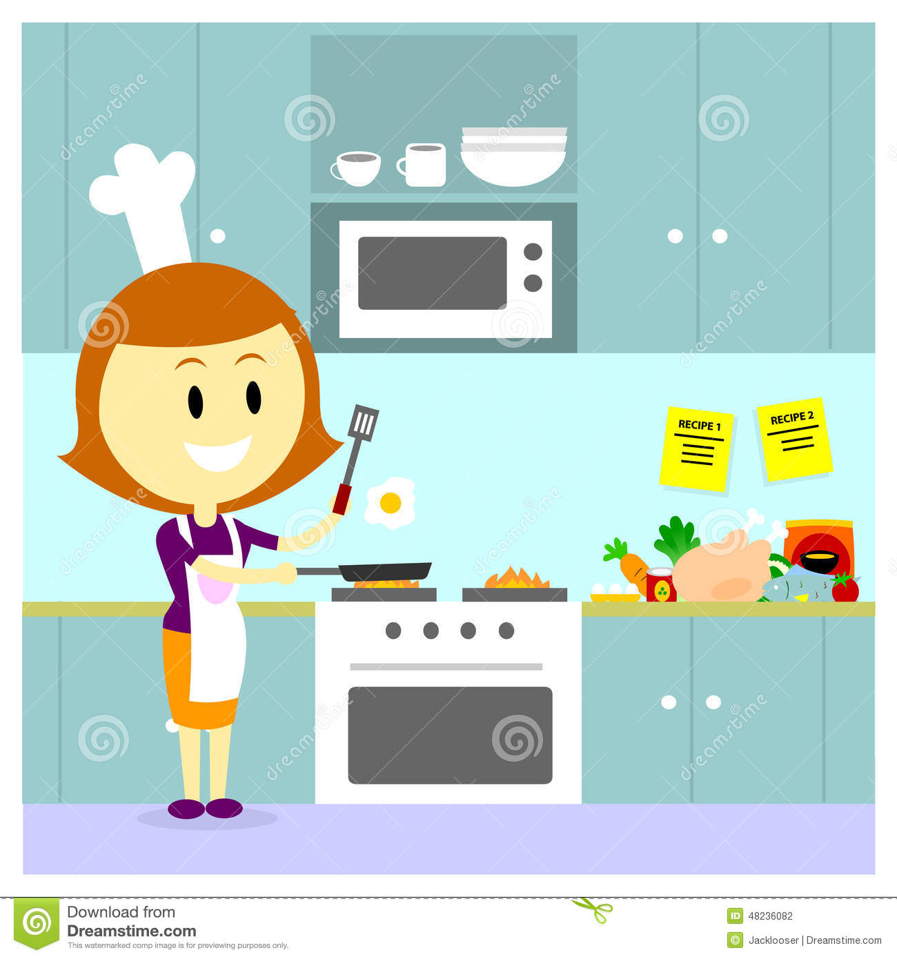 Mom Cooking In The Kitchen Stock Vector Illustration Of