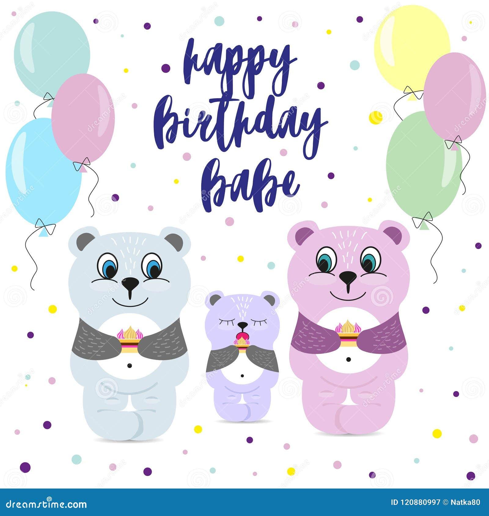 Mom And Dad Bear Congratulate Baby Happy Birthday Greeting Card
