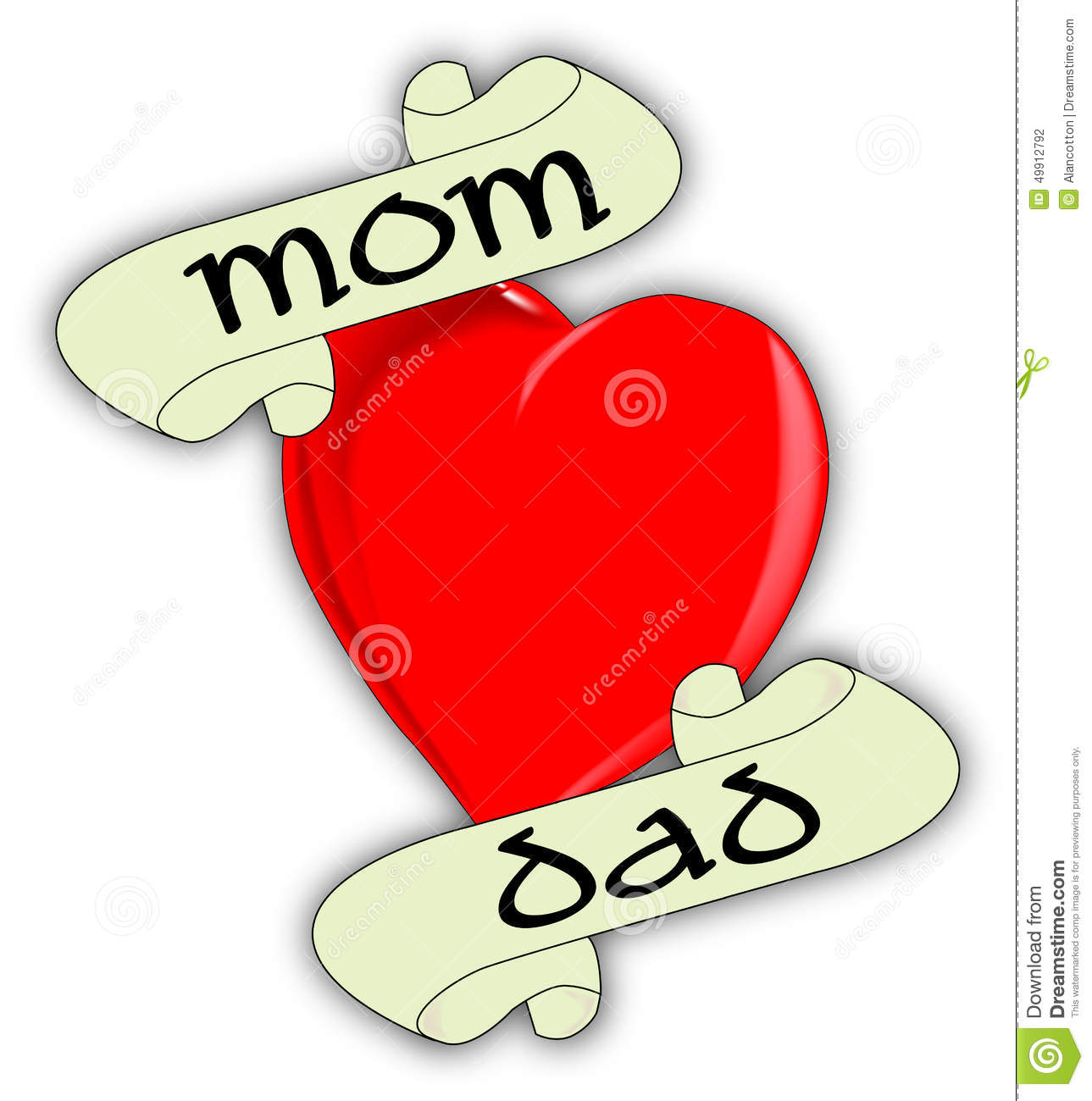 Heart And Mom Dad Tattoo: Mom And Dad Heart Stock Illustration. Illustration Of