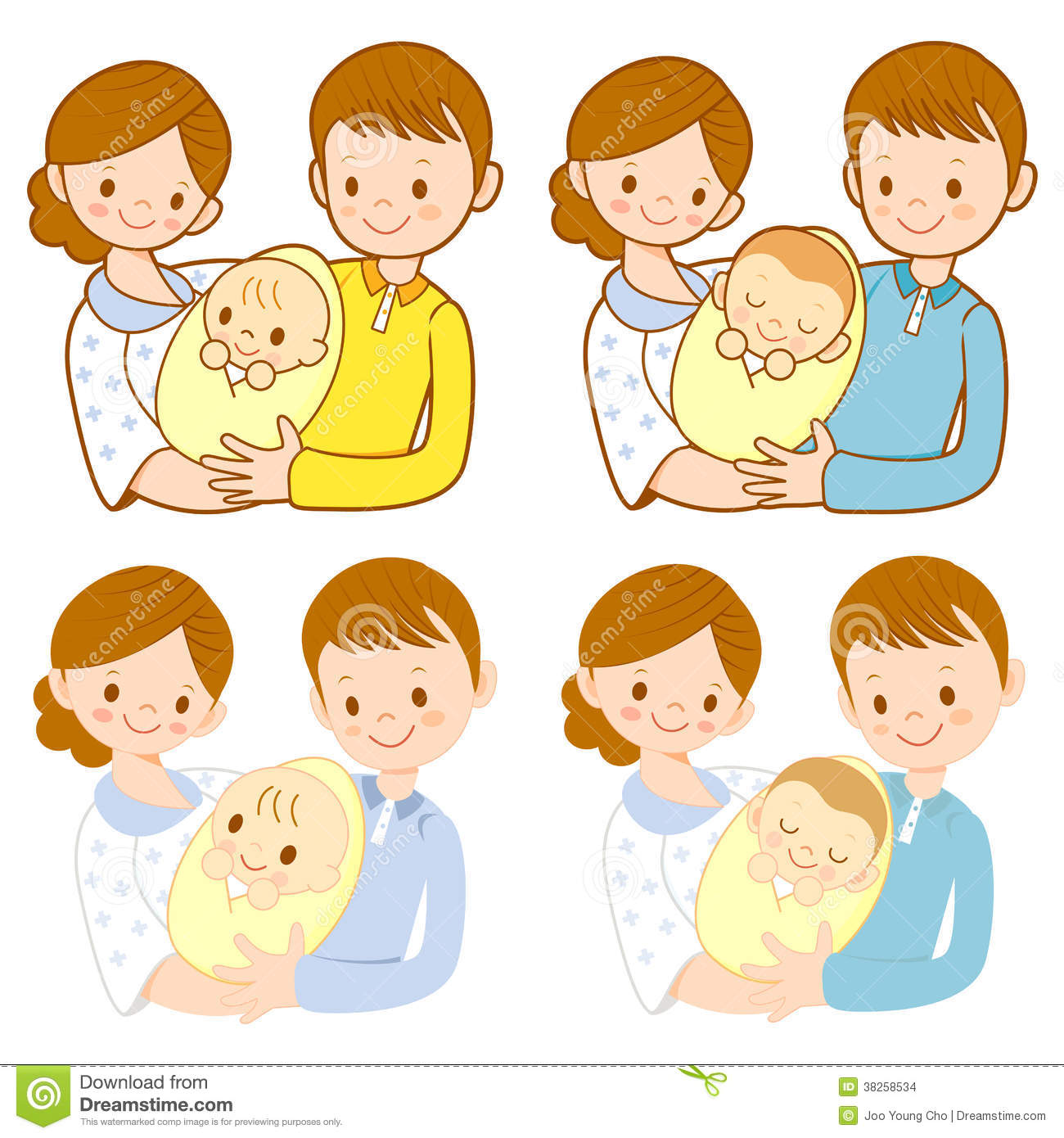 The Mom And Dad Holding Newborn Baby. Home And Family ...
