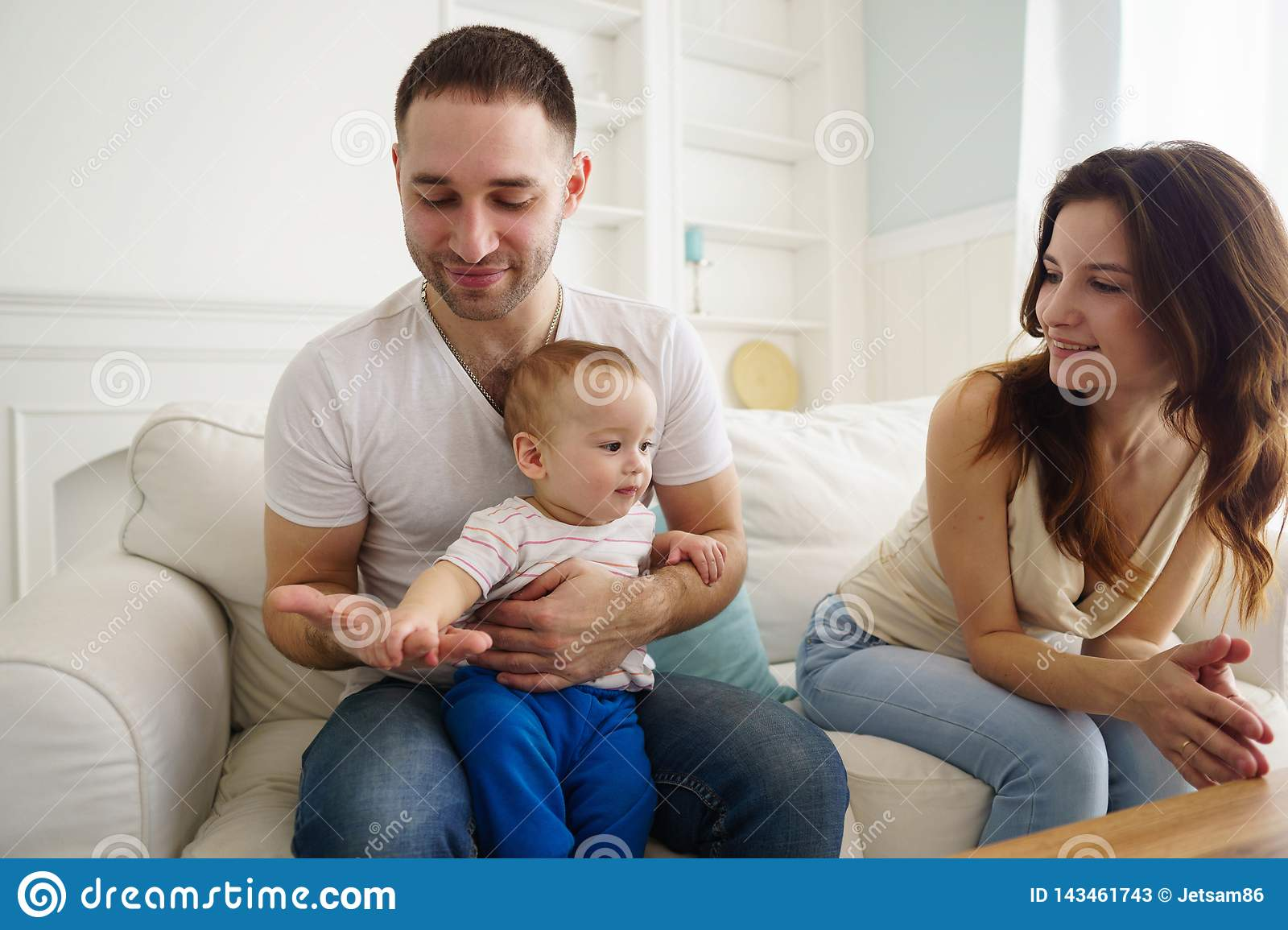 Mom Dad And Son Having Fun In Living Room Stock Image Image Of