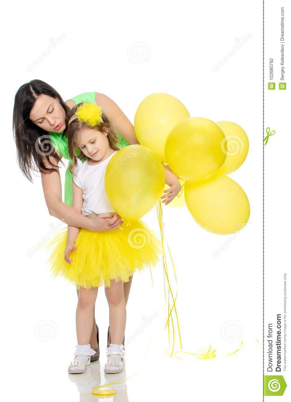 Mom And Daughter With Colorful Balloons