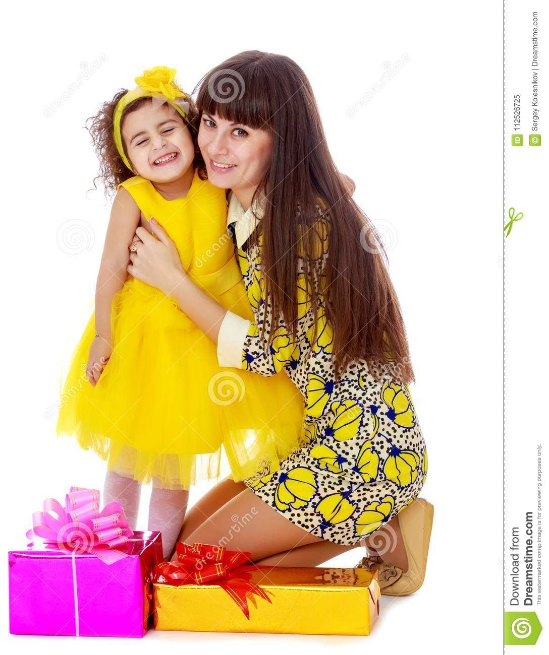 Mom And Daughter With Gifts In The New Year Stock Image - Image of ...