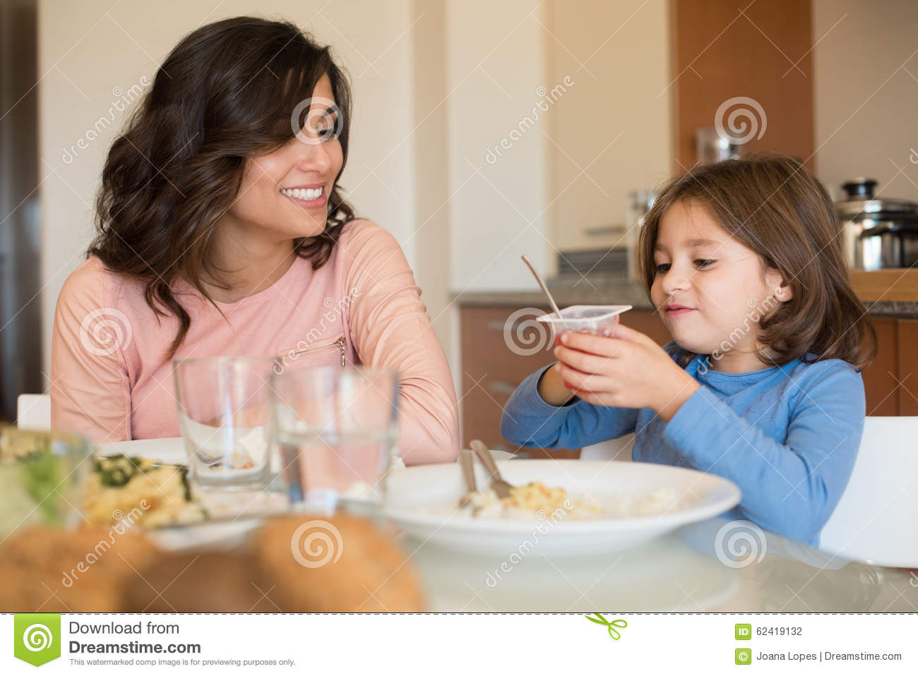 Mom And Daughter Having Lunch Stock Photo - Image of lunch