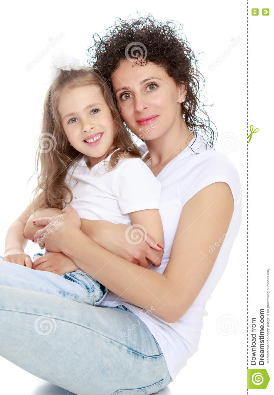 Mom And Daughter Bedroom Ideas: Mom And Daughter In Jeans White Shirts Stock Image