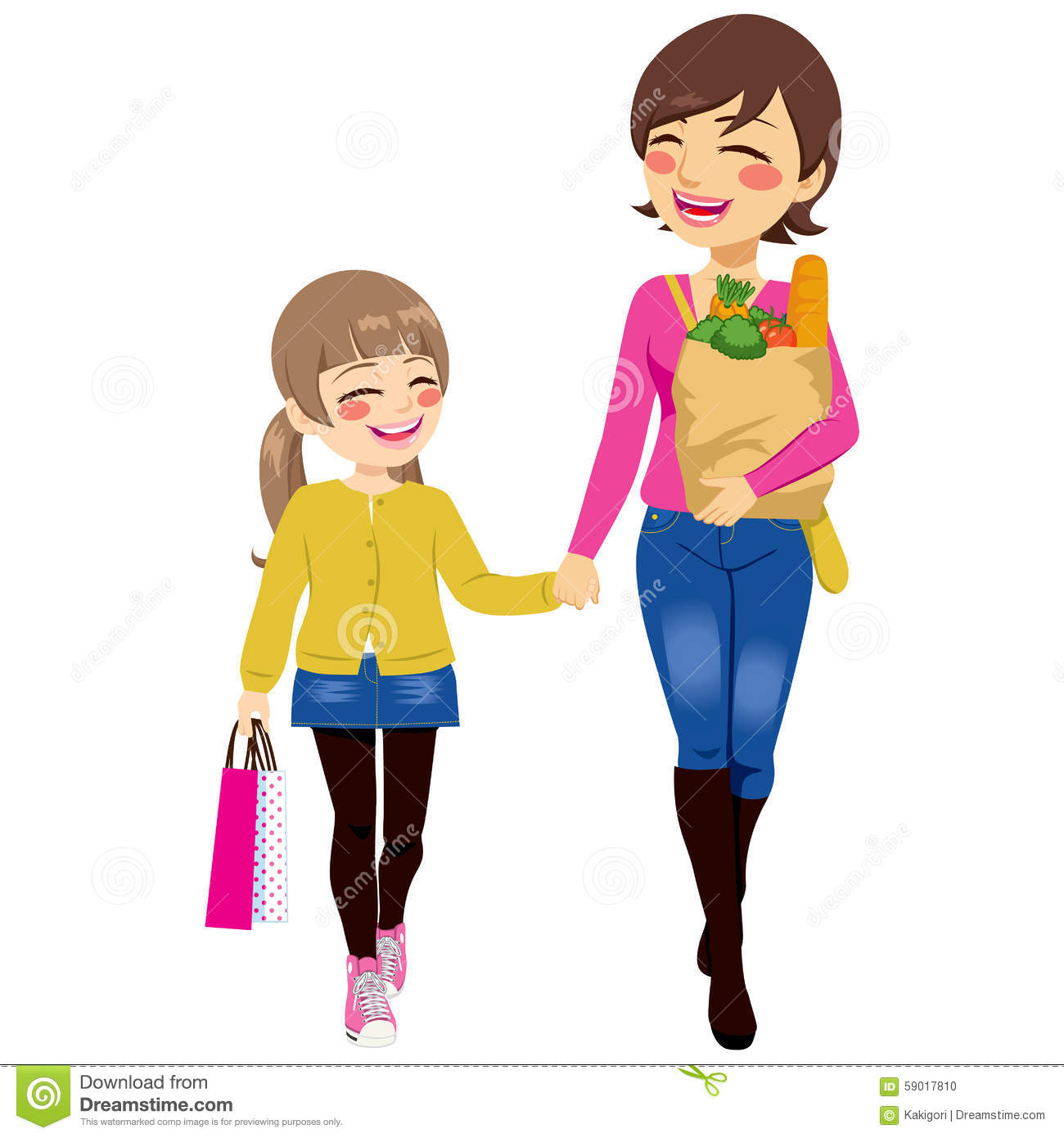 Mom Daughter Shopping Together Stock Vector