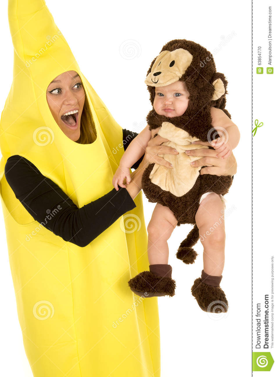 Mom Dressed As Banana With Monkey Baby Hold Out Stock Photo Image