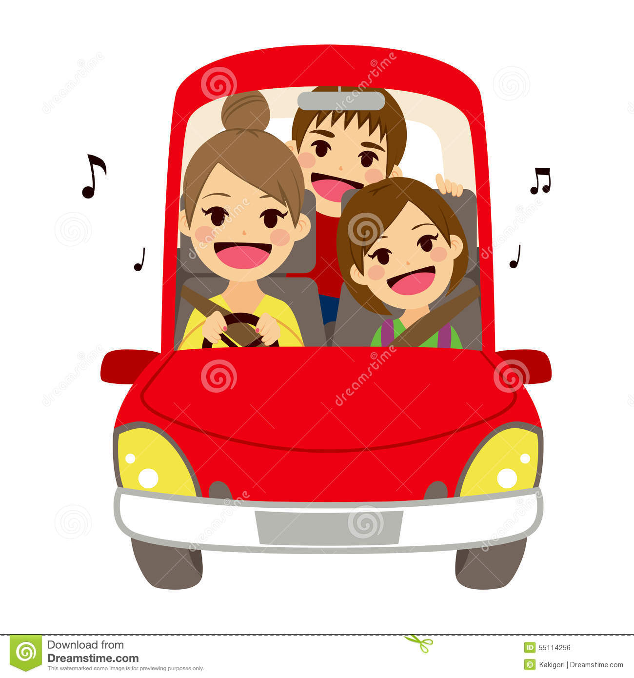 mom driving kids school singing stock vector illustration of people  road 55114256 Singing Notes Clip Art Microphone Clip Art