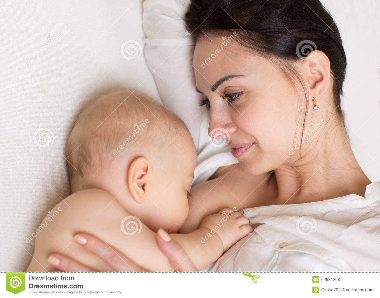 Baby bed next to mom - Mom Feeding Breast Baby On The Bed Top View