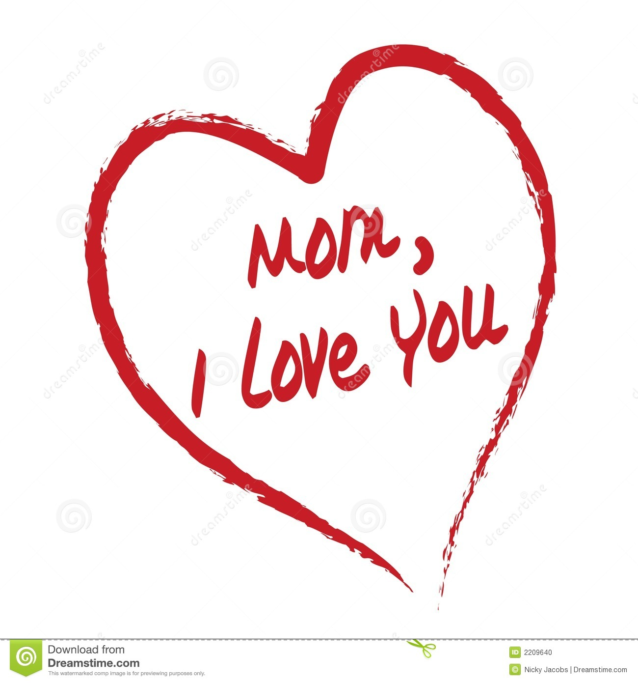 Mom I Love You Card Stock Vector Illustration Of Aime 2209640