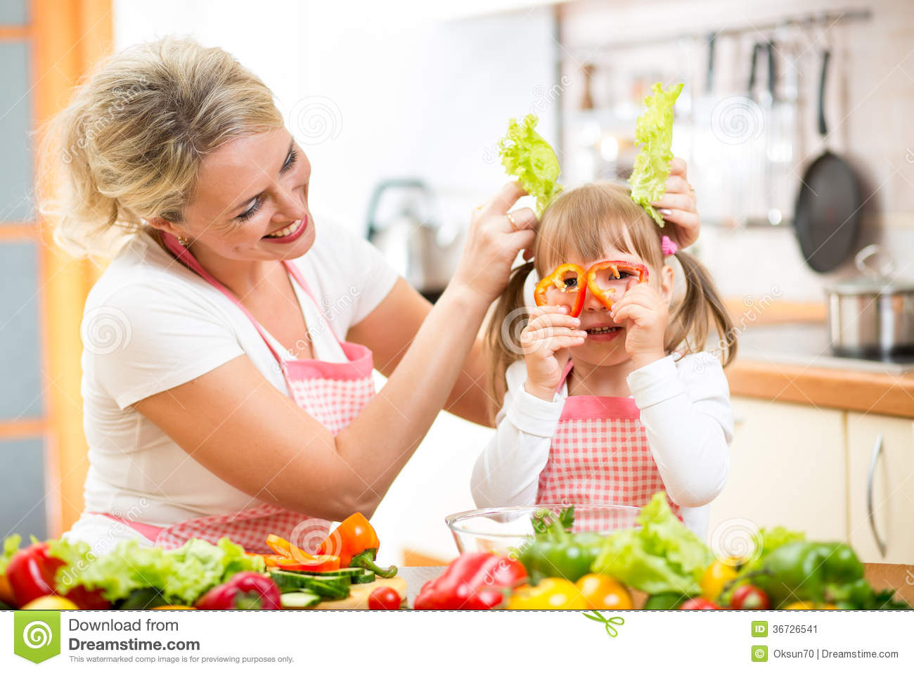 Fun Kitchen Mom And Kid Cooking And Having Fun In Kitchen Stock Image Image