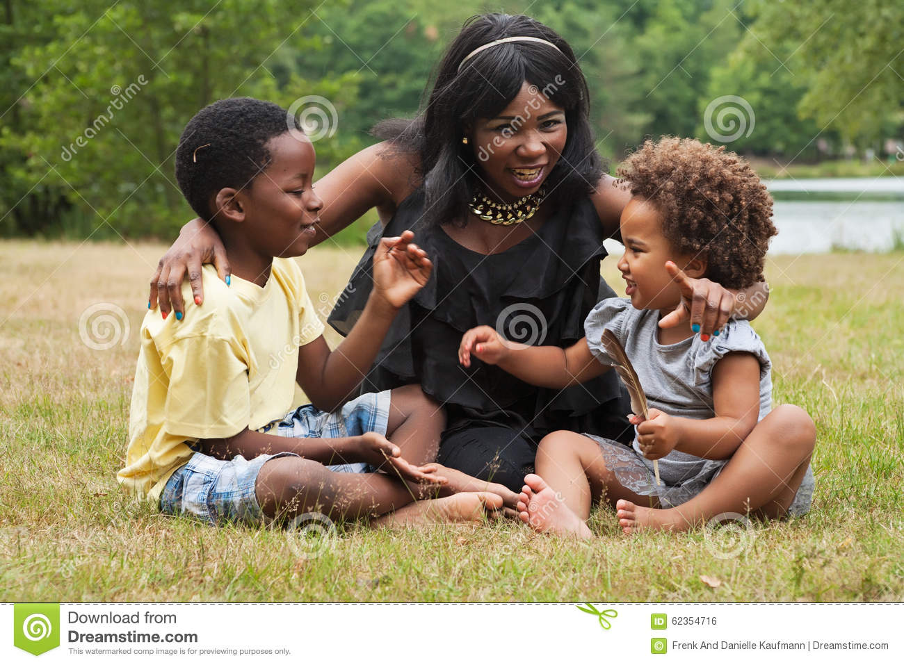 Mom and kids in nature