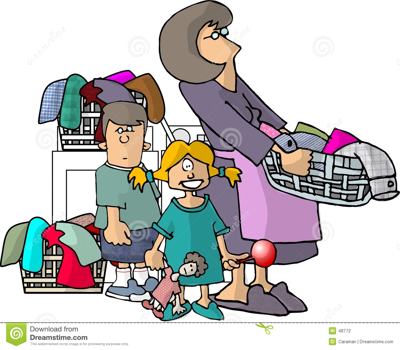 Mom Kids And Their Laundry Stock Photography Image 48772