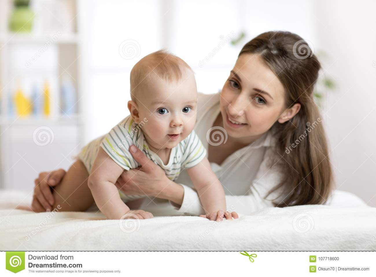 Little Son And Mommy