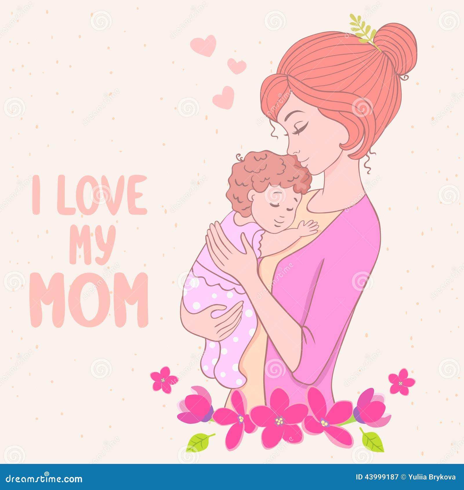 Mom Love Stock Vector Illustration Of Silhouette Decorative 43999187