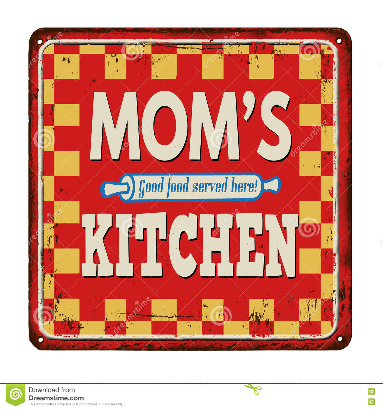 Mom S Kitchen On Vintage Rusty Metal Sign Stock Vector