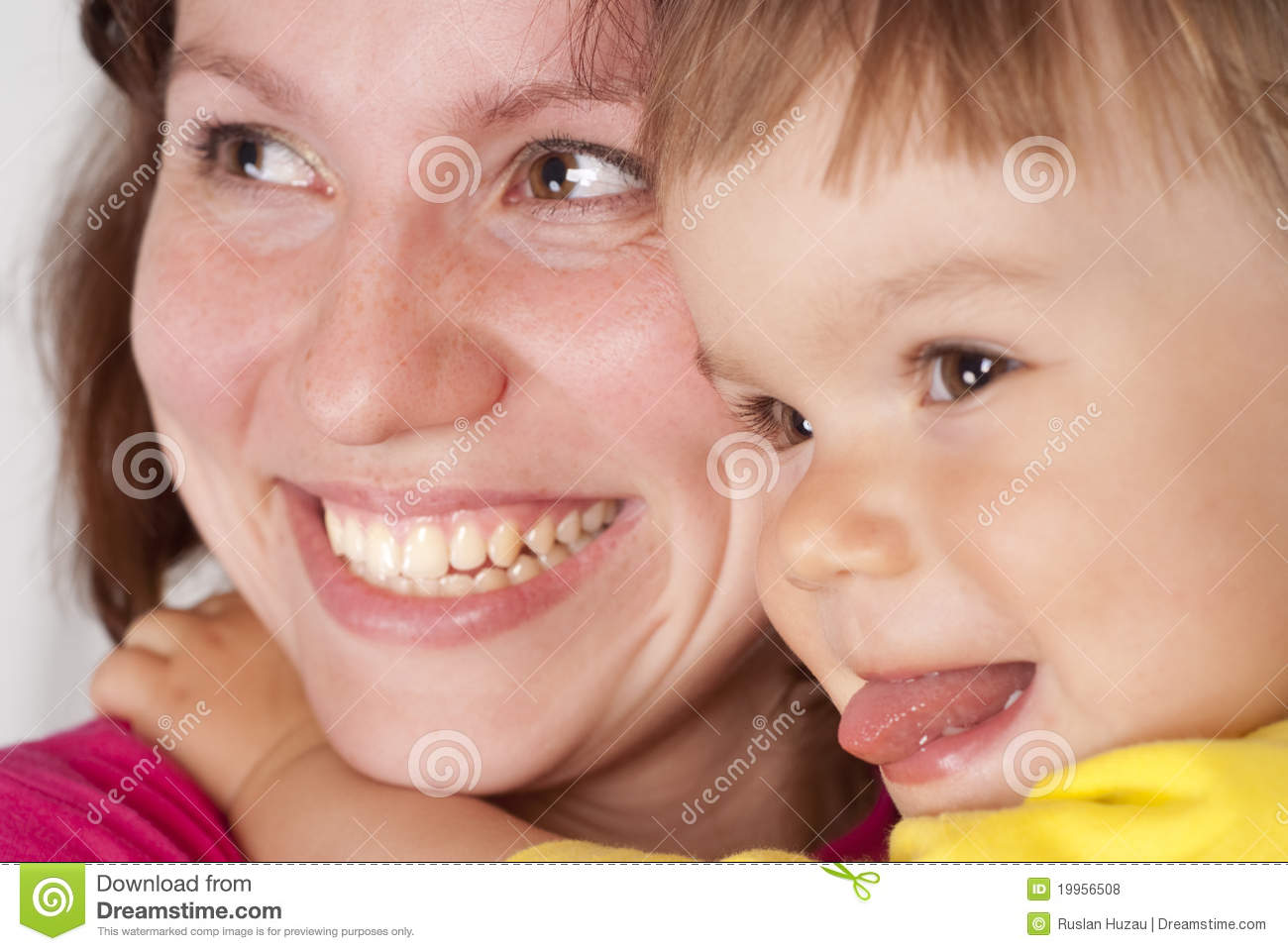Mom smiles with daughter