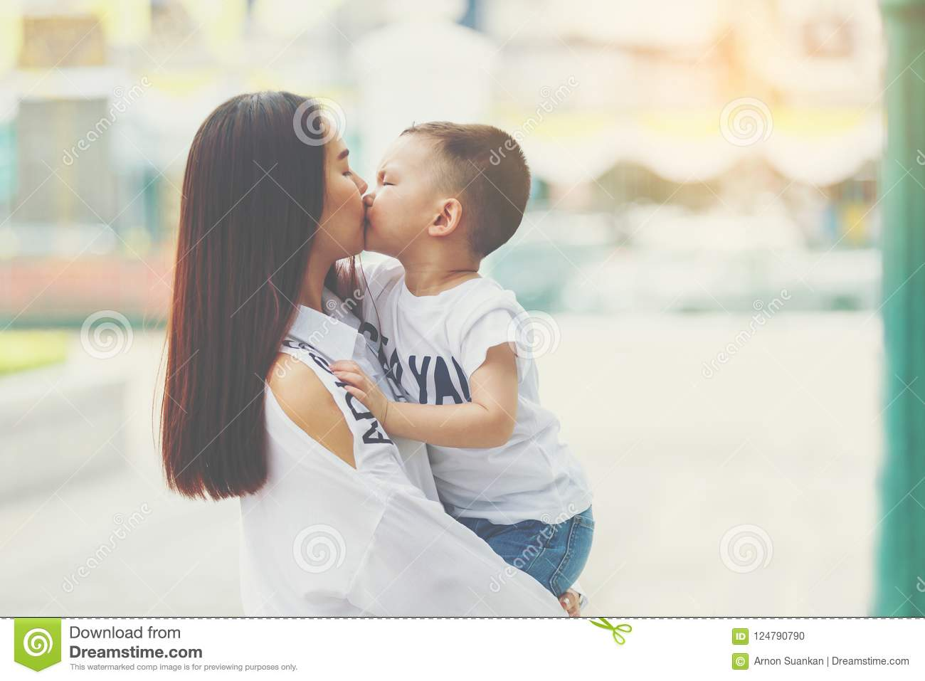 Mom And Son Kissing