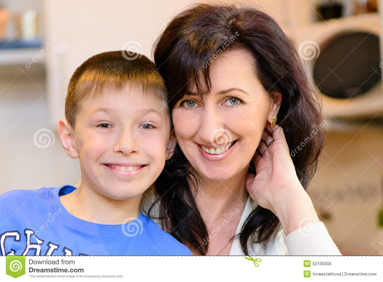 Mature mom and boy