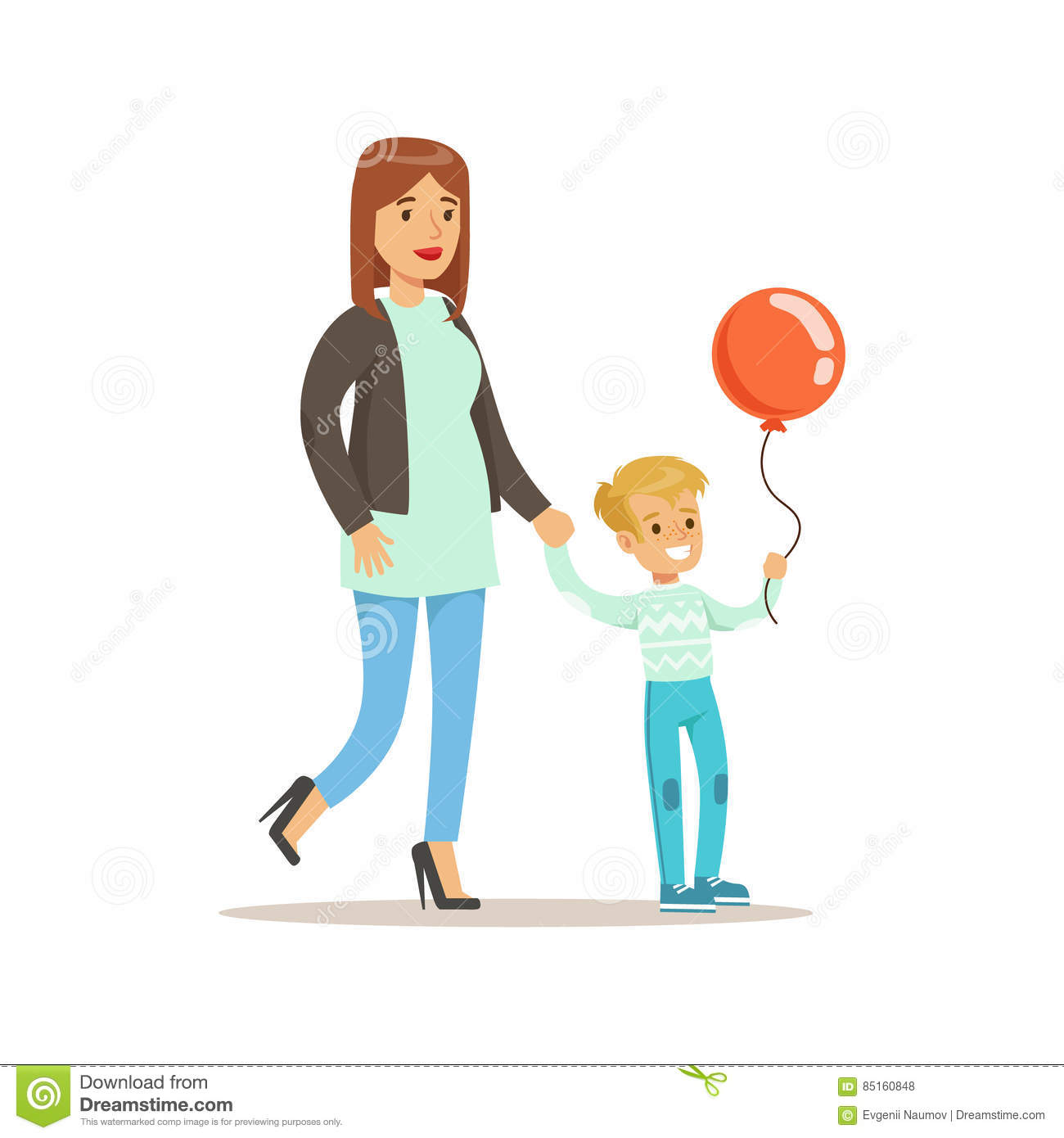 Mom And Son Walking Outdoors Loving Mother Enjoying Good Quality Mommy Time With Happy Kid