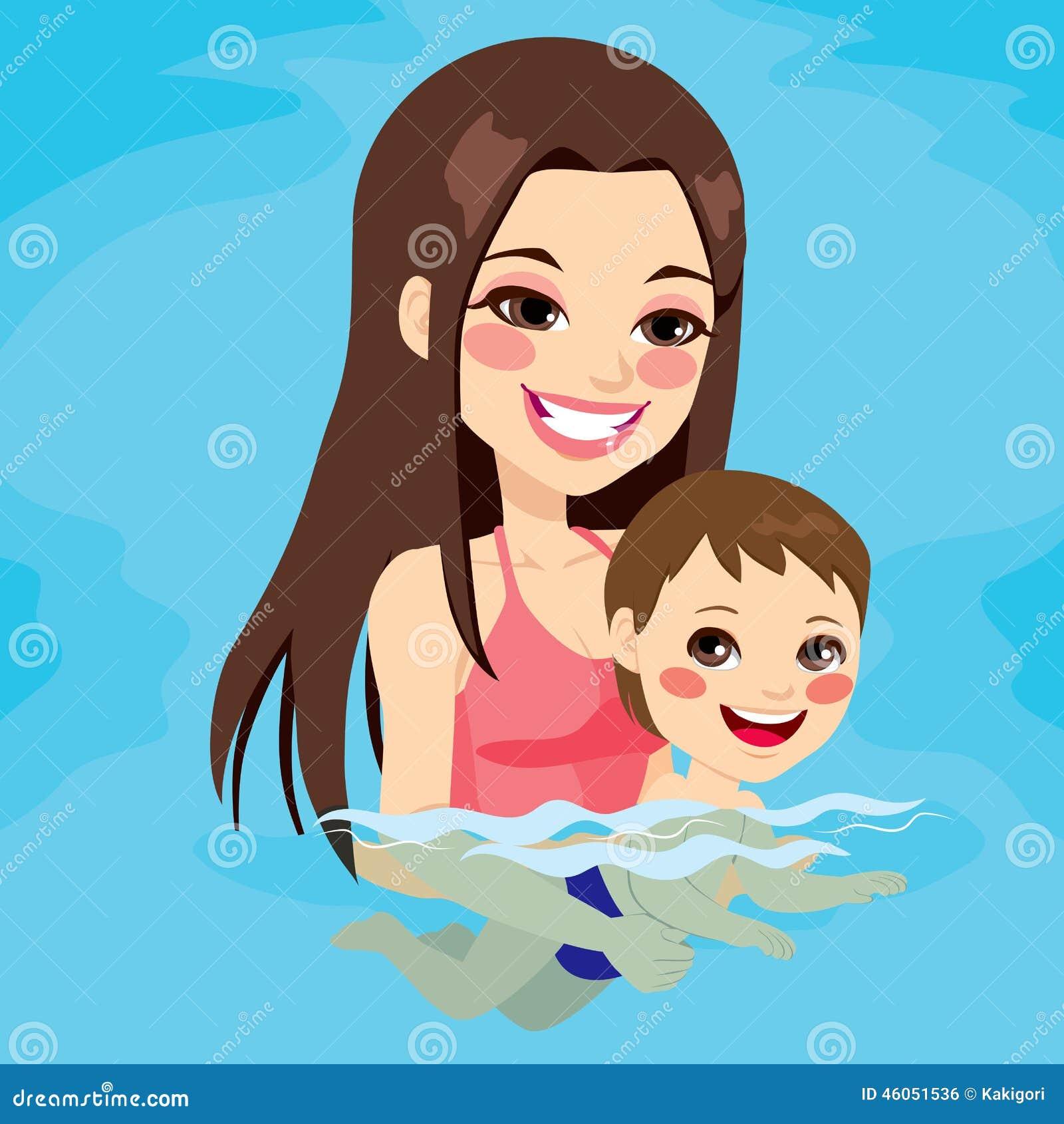Mom Teaching Baby Boy Swimming Stock Vector Image 46051536