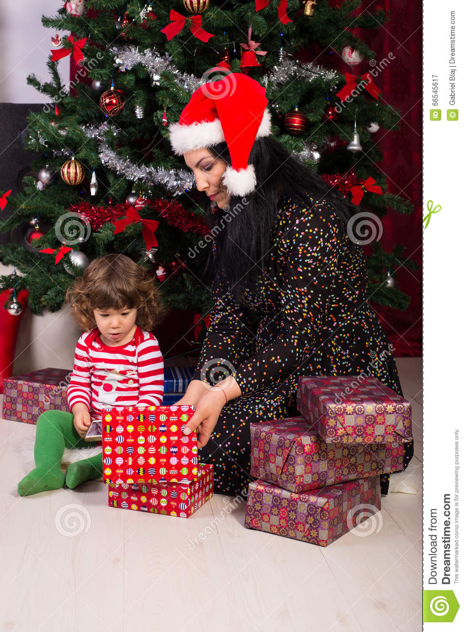 Mom And Toddler Son Opening Christmas Gifts Stock Image - Image of ...