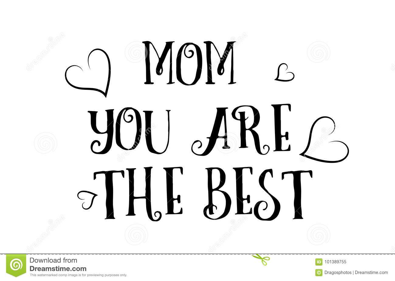 Mom You Are The Best Love Quote Logo Greeting Card Poster Design