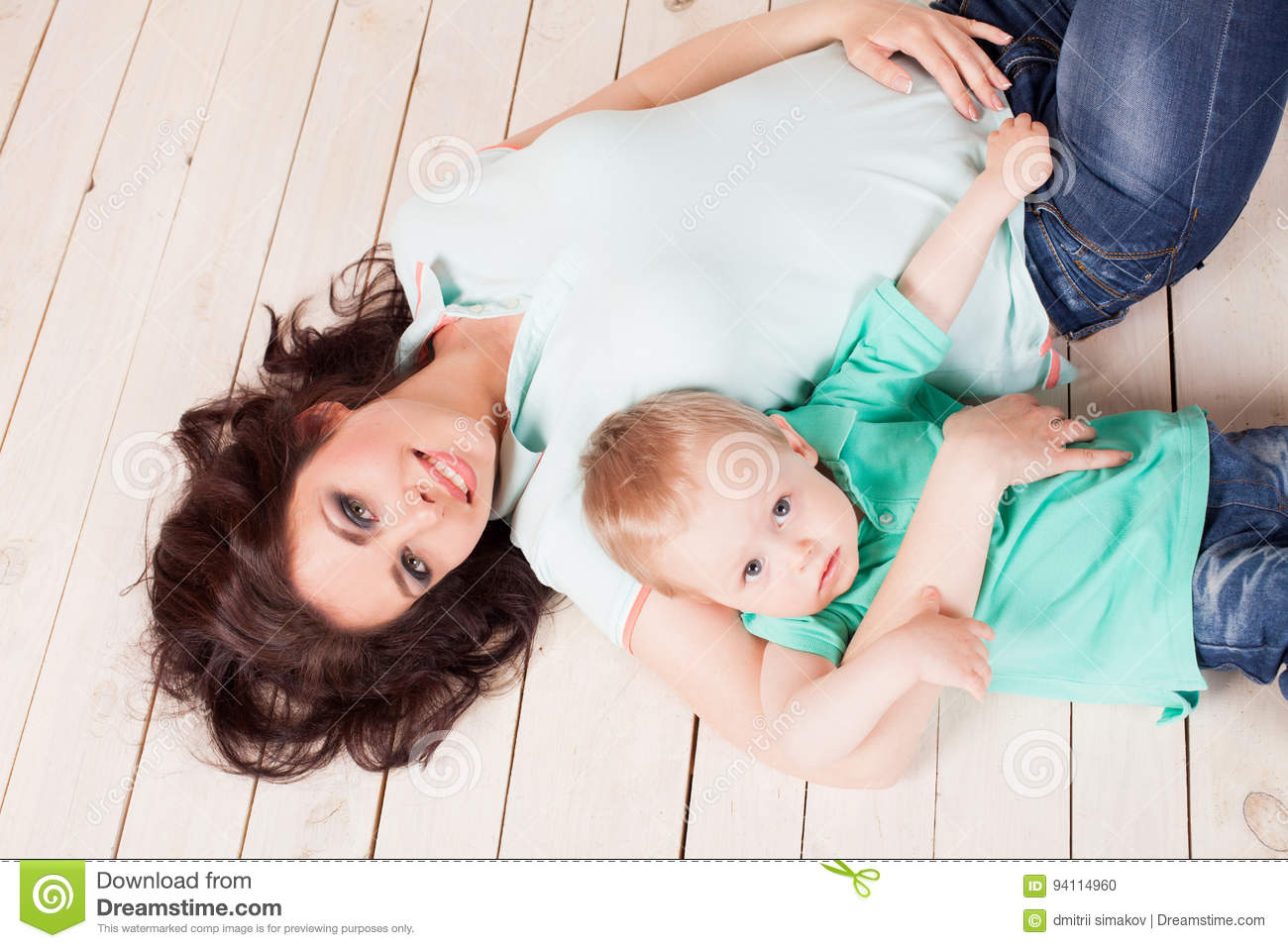 mom Young boy with
