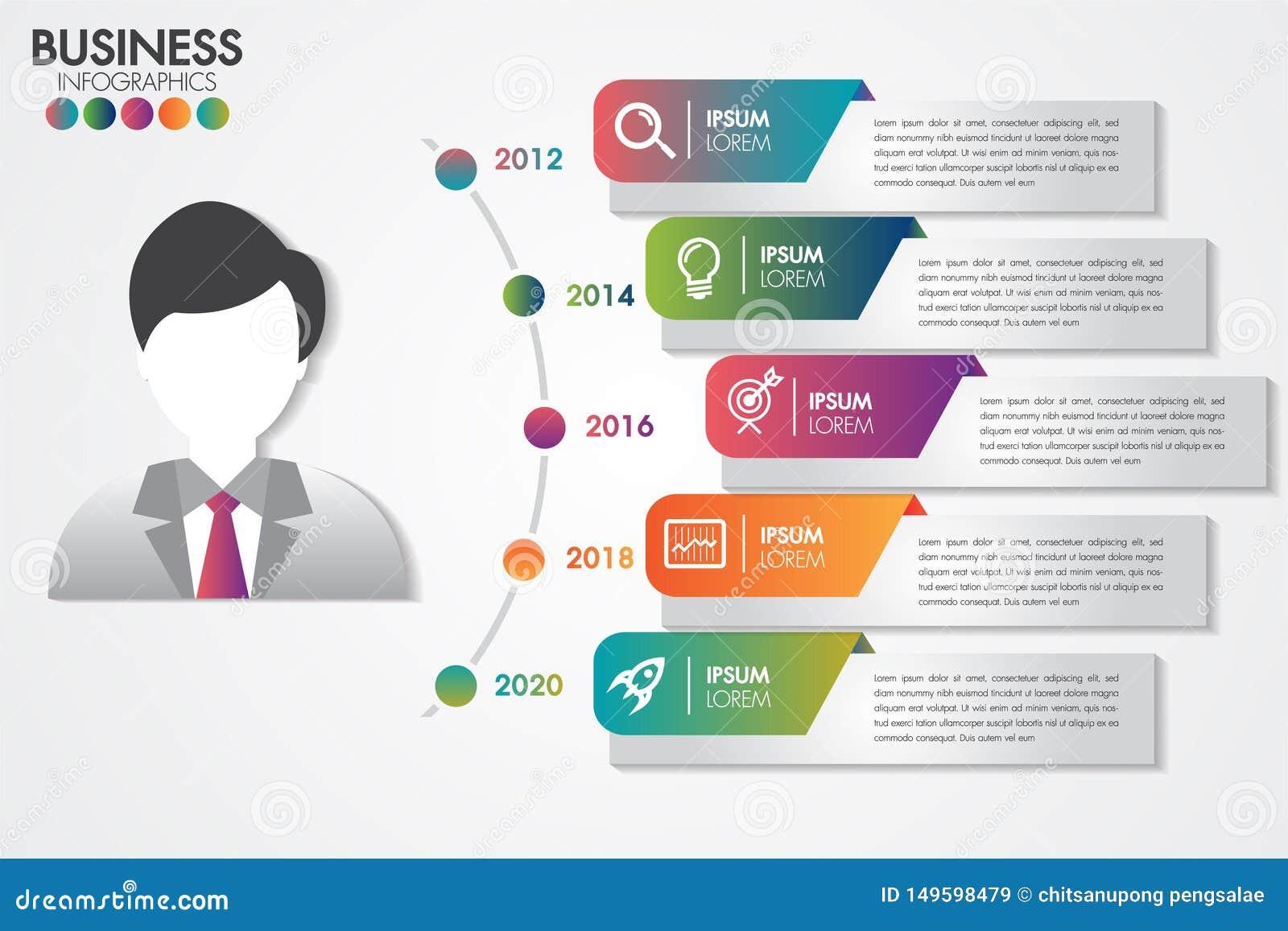 Moment för Infographics mall 5 för presentationen med 5 alternativ eller moment planlägger rena nummerbaner kan anv?ndas f?r work
