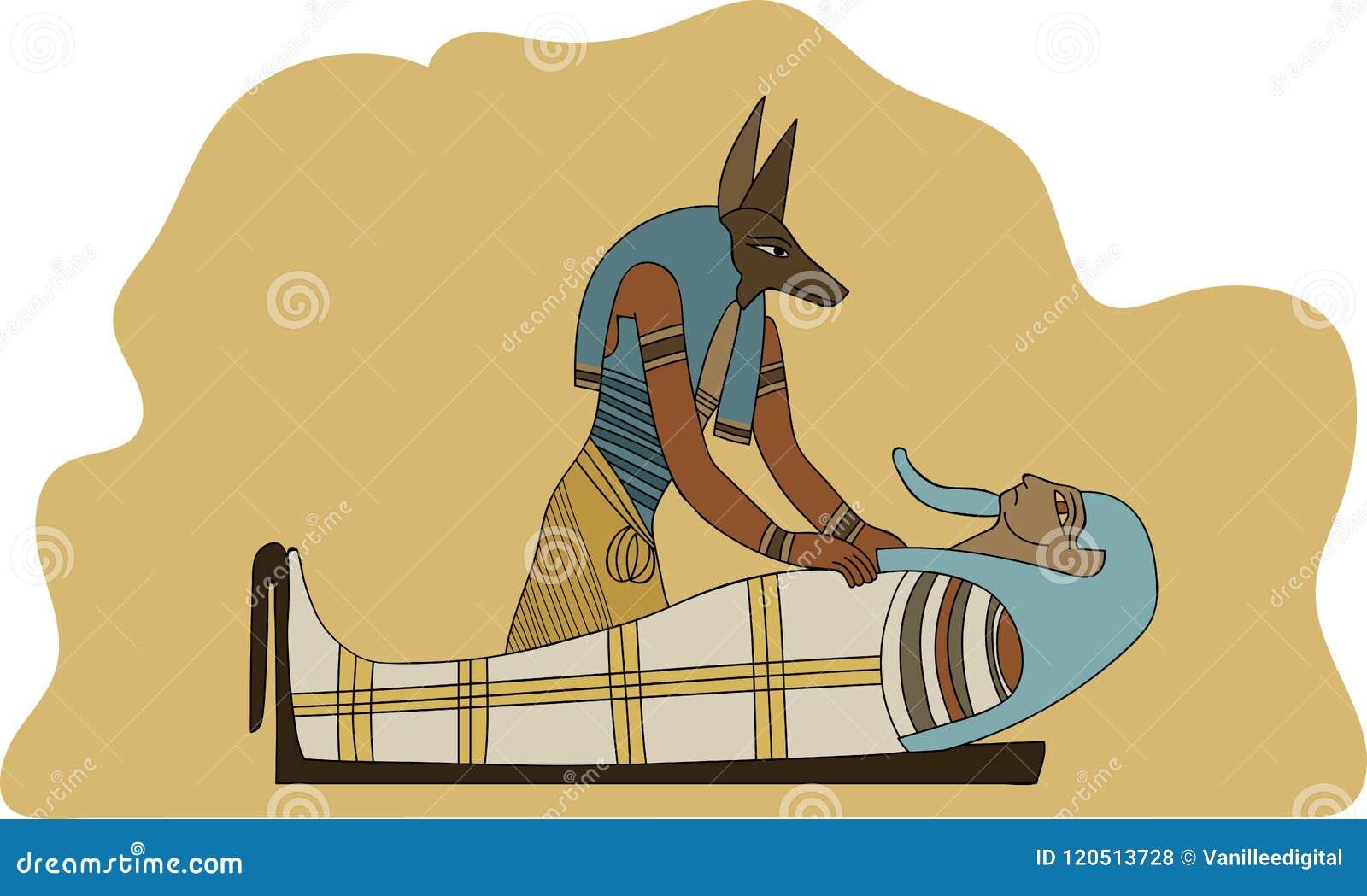 Momificación de embalsamiento antigua de Egipto Anubis un ejemplo del faraón