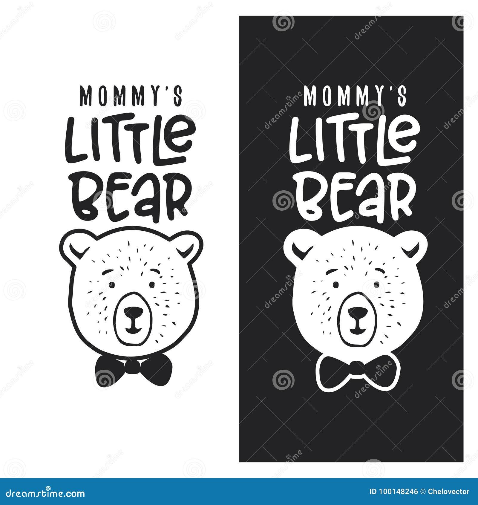 Mommy little bear kid clothes design. Vector vintage illustration.