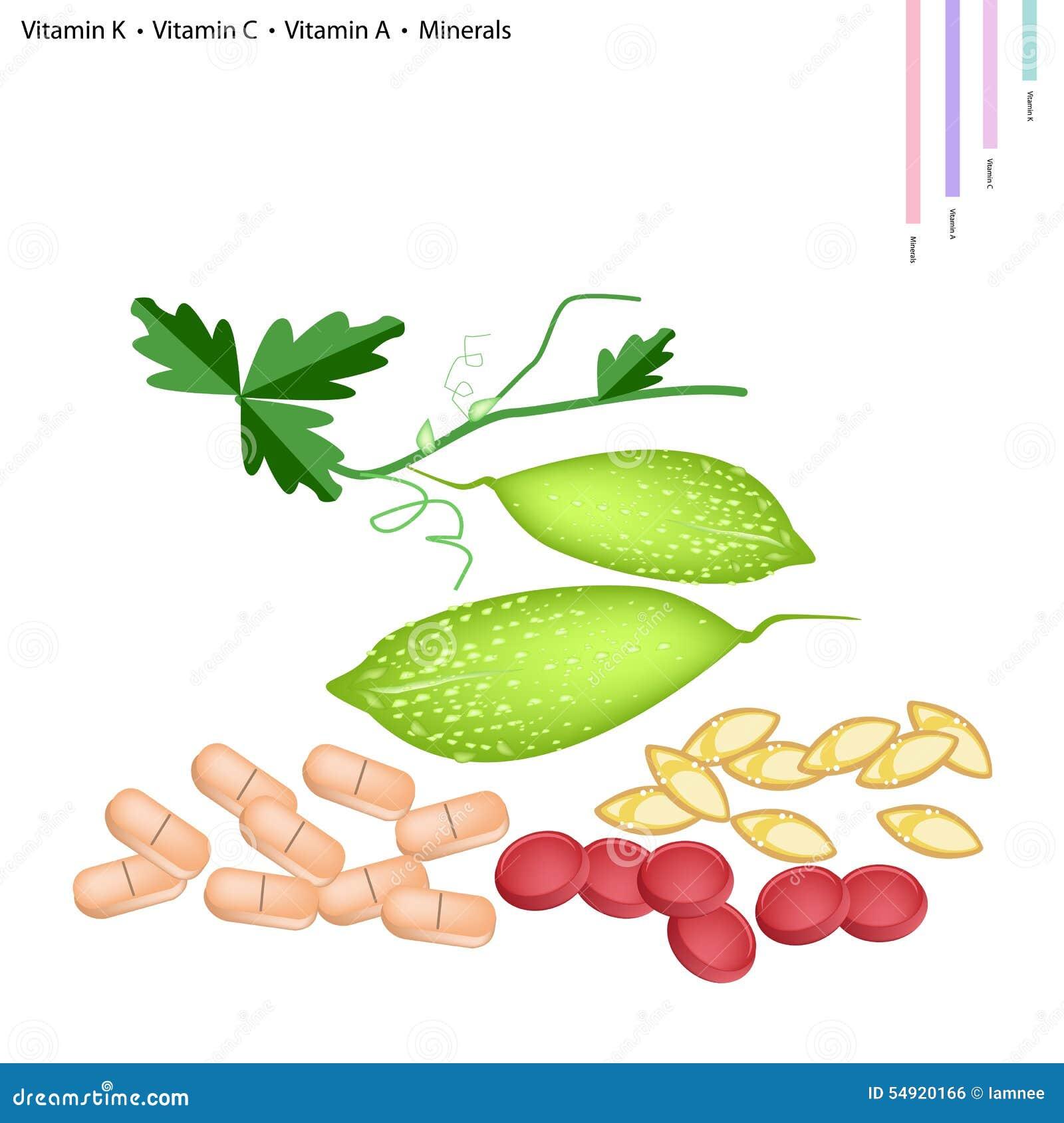 Momordique avec la vitamine K, C, A et minerais