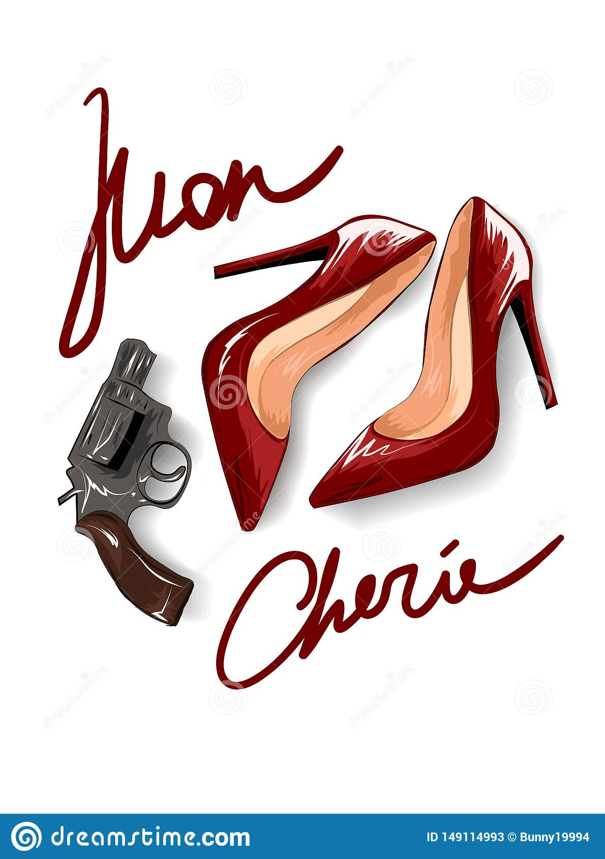 Mon cherie slogan with red heels and a pistol illustration.